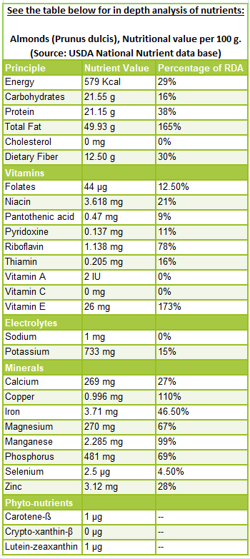 Almond nutrition facts