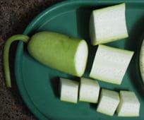 bottle gourd cut sections
