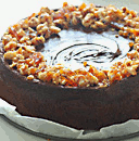 hazelnut praline on chocolate cake