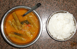 rice served with murunga-curry