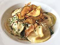 oyster mushroom and goat cheese ravioli
