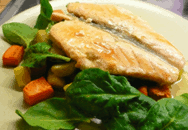 salmon, parsnips, and carrot