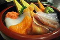 fresh wasabi-paste on sashimi
