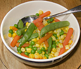snap pea salad with green peas, carrot