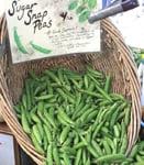 sugar snap peas in a market