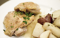 thyme herb with chicken and potatoes