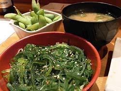 wakame salad, edamame and miso soup