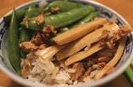 sugar snap peas, bamboo shoots with rice
