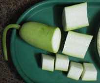 bottle gourd cut sections