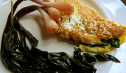 epazote omelette with pickled ramp