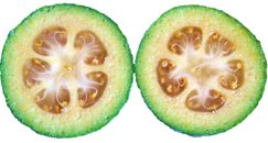 Cut sections of feijoa fruit