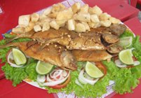 fried cassava root and fish