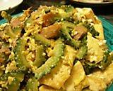 goya chanpuru prepared with bitter melon, tofu, egg and onion