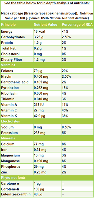 Napa cabbage nutrition facts