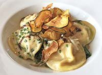oyster mushroom and goat cheese ravioli