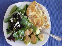 roasted brussel sprouts wwith greens and stuffed omelette