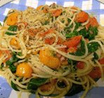 spaghetti-with-shallot-spinach-tomatoes
