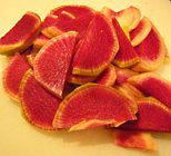 watermelon radish slices