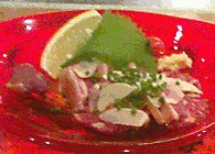 yagisashi- thin slices of raw goat meat with lemon.